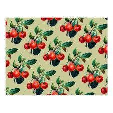 fruit wallpaper pattern. Contemporary Wallpaper Vintage Sweet Red Cherries Fruit Wallpaper Pattern Postcard In