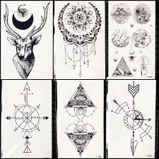 очарование черная луна временные татуировки карандашные зарисовки олень браслет