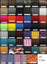 Color Chart Coolkidz Paracords