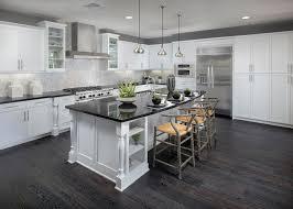 meritage homes Kitchen Contemporary with dark wood floor black countertop