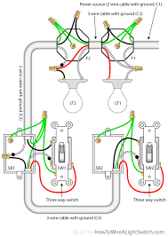 3 way switch with power feed via the light (multiple lights) how How To Wire A 2 Way Light Switch circuit diagram for 3 way switches controlling two lights with the power feed via the light how to wire a 2 way light switch diagram