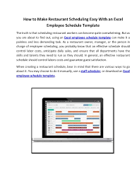 scheduling templates for employee scheduling how to make restaurant scheduling easy with an excel employee schedul