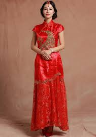 Red Satin Peacock Peony Embroidery Chinese Long Wedding Dress