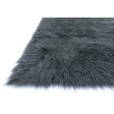 black faux fur rug rugs collection graphite gray