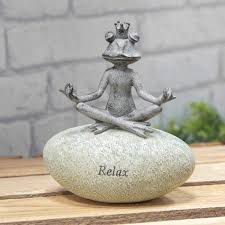 frog garden relax stone ornament cl318