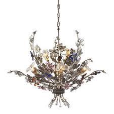elk lighting 9107 4 2 6 light chandelier in bronzed rust multi colored
