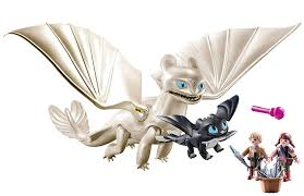 How To Train Your Dragon 3 Playmobil Light Fury Playmobil How To Train Your Dragon Iii Light Fury With Baby Dragon And Children Walmart Com