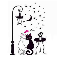 Гостиная декор DIY черного пара Cat съемным <b>стены</b> Декаль ...