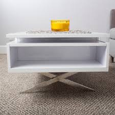 stelar white lacquer high gloss lift top rectangular coffee table