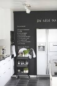 chalkboard wall in black & white kitchen. Great idea for one small kitchen  wall.