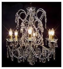 antique pristine crystal drop 6 light with murano glass chandelier