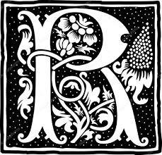 花の装飾白黒手紙 R と英語のアルファベット ストックベクター