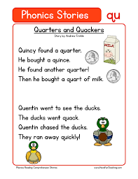 Click on the category or resource type below to find printable phonics worksheets and. Quarters And Quackers Qu Phonics Stories Reading Comprehension Worksheet Have Fun Teaching