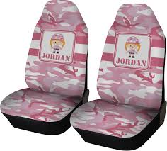 pink camo car seat covers set of two personalized
