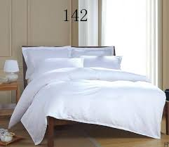 luxury white satin stripe hotel home twin queen king size cotton bedding set bed linen comforter