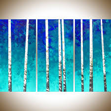 birch forest by qiqigallery 54 x 36 extra large canvas art birch tree painting wall art wall decor painting on canvas green blue white home office wall  on extra large wall art teal with birch forest by qiqigallery 54 x 36 extra large canvas art birch