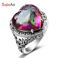 szjinao whole anillos vine jewelry 925 sterling silver rings charm rainbow topaz heart shaped stones for women gifts