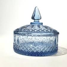 candy dish with lid vintage glass princess candy dish blue glass covered ca fenton carnival glass candy dish