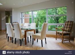 glass dining room table with leather chairs. glass dining table and leather chairs in front of large window modern room with