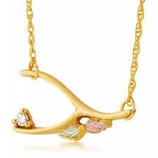 landstrom s 10k tri color black hills gold wishbone diamond pendant necklace