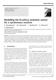 pdf modelling the brushless excitation system for a synchronous machine