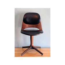 mid century desk chair. Black Leather And Brown Wooden Mid Century Modern Swivel Desk Chair With Unique Curved Base Style For Your Home Office Furniture Chairs Deals File Drawer