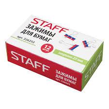 Купить <b>Зажимы для</b> бумаг <b>STAFF</b>, КОМПЛЕКТ 12 шт., 25 мм, на ...