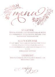 Menu Template Menu Card Rose Gold Wedding Dinner Menu Card