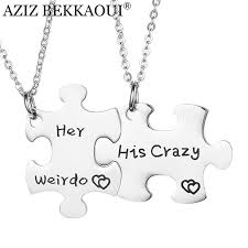 aziz bekkaoui her weirdo his crazy engraving couple necklace for men women stainless steel personalized love pendant necklaces
