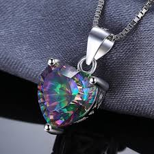 fire mystic topaz heart pendant