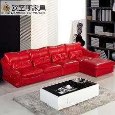 Latest design new wedding Modern sectional corner l shape hot red leather sofa set red