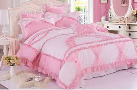 pink white girls lace ruffled bowtie princess past bedding
