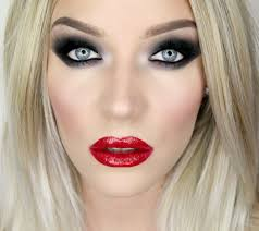 eye makeup with red lips the v39 black smoky eyes glossy red lip