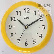 theo quartz wall clock white dial and colored rim basic design for