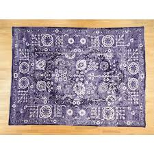 9 x12 purple wool and silk hand knotted tone on tone tabriz rug