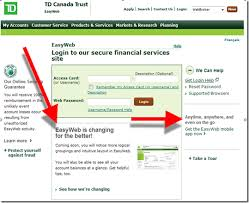 td canada trust login page existing user