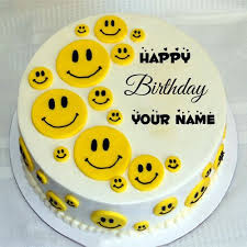 Happy Birthday Cute Funny Smiley Cake With Namewrite Name On Smiley