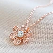 silver flower pendant necklace lisa angel