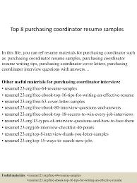 Purchasing Coordinator Resume Sample Gallery Creawizard Com