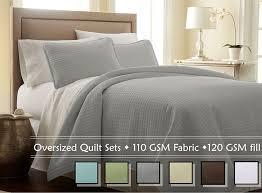 com souths fine linens 3 piece oversized quilt set steel grey full queen home kitchen