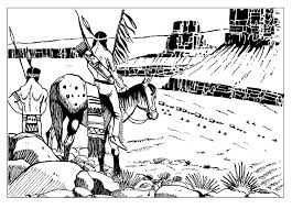 Small Picture Free coloring page coloring adult indians keeping watch Indians