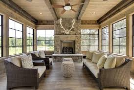 Sunroom Fireplace Ideas Rustic