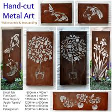 australian steel metal garden wall art outdoor artworks brown stained varnished decorations hanging printed on large metal garden wall art with wall art design ideas australian steel metal garden wall art