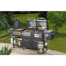 o1723916 outdoor gourmet grill outdoor gourmet supreme 7 burner propane and charcoal grill griddle and smoker