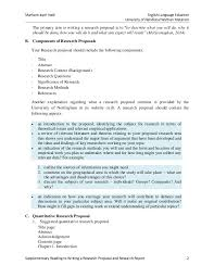 Research Methods and Skills  RMS    MSM Research Proposal Format