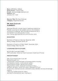 Resume Examples For New Graduates New Graduate Nurse Resume Nursing