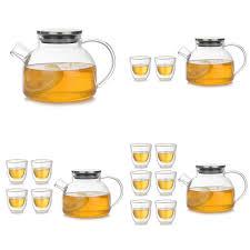 Glass Teapot Cup <b>High Borosilicate Heat</b> resistant Tea Set Set Heat ...