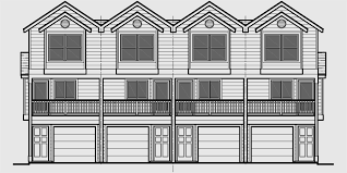 house front color elevation view for f 556 quadplex plans narrow lot house plans