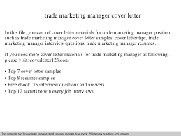 trade marketing manager cover letter marketing manager cover letters