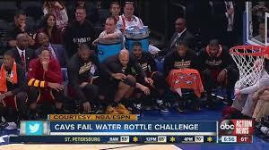 lebron water. lebron fails water bottle flip challenge during game lebron l